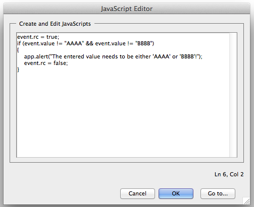 Screenshot of JavaScript Edit dialog