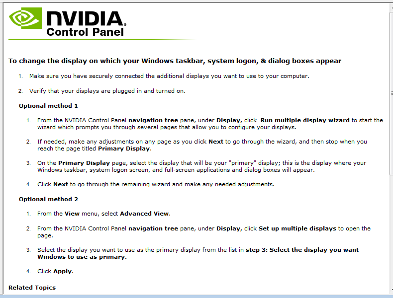 nVidia nView - Help - Multiple Monitors in Win7