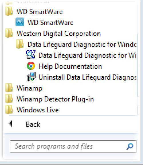 WD Smartware start menue- all programs