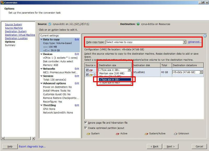VMware vCenter Converter Standalone Edit Data to Copy4