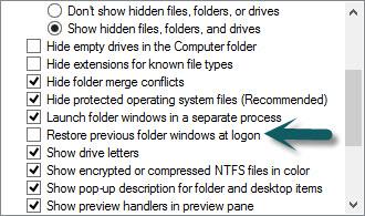 restore explorer windows at logon