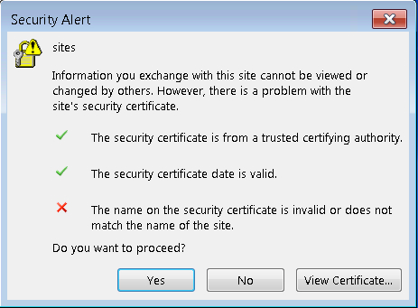 Security Alert within Outlook