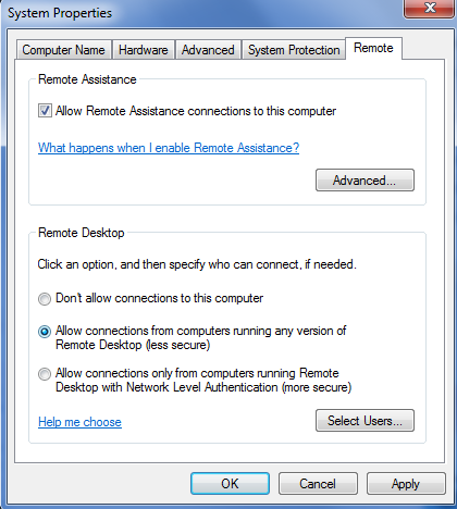 Win7 - System Properties - Remote Desktop (click for larger)