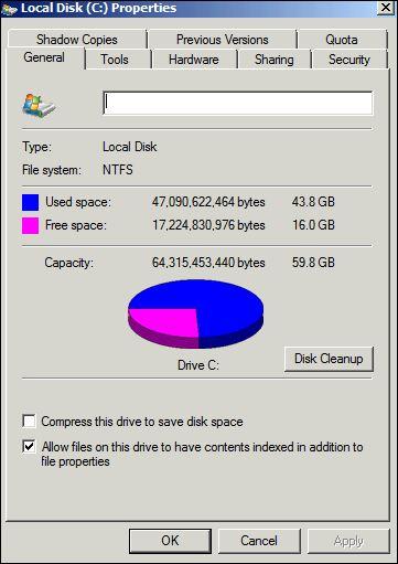 Disk space in VM