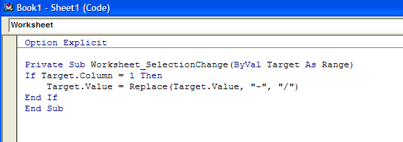 Sheet1 code