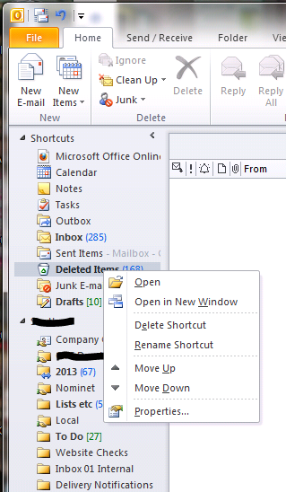 Missing menu option in Outlook