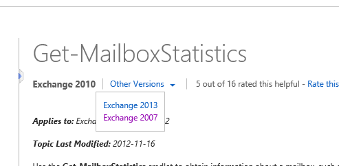 Exchange 2007 cmdlet