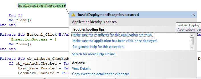 exception appear when call Application.restart