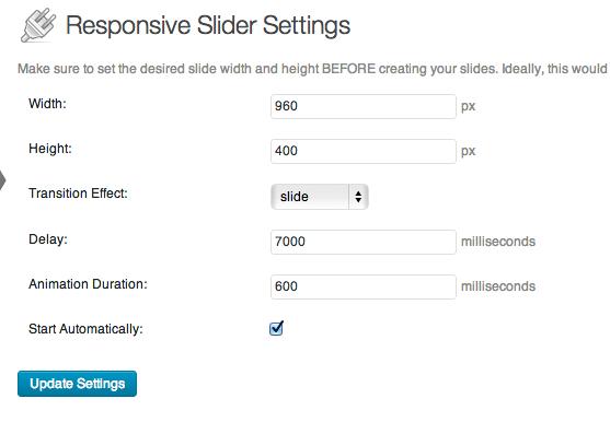 Slider plugin settings