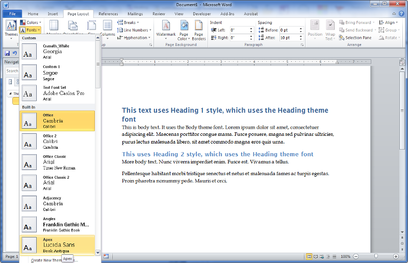 screenshot of word page layout tab, scrolling thru theme font sets