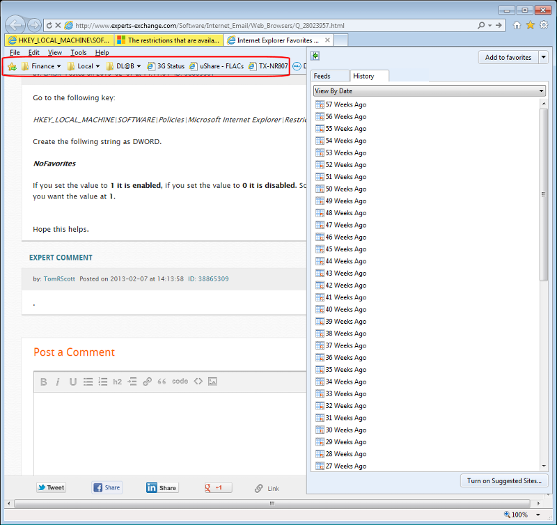 IE9 with ...\Restrictions\NoFavorites Enabled (click for larger)