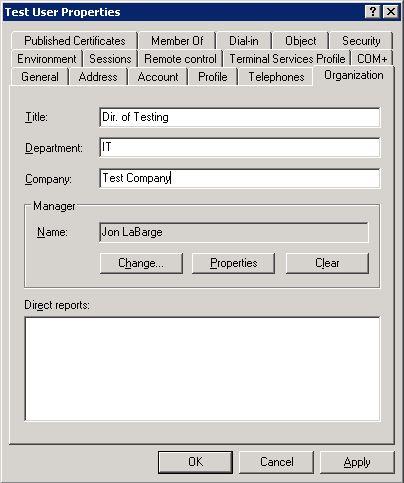 TestUser in Active Directory