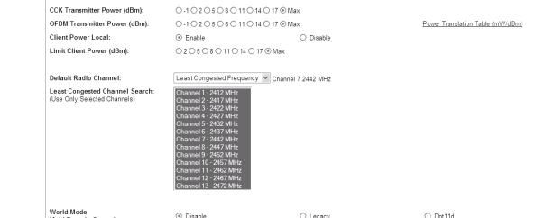 cisco 1242ag least congested channel selection
