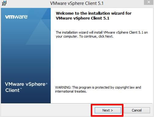 Welcome to the installation wizard for VMware vSphere Client 5.1