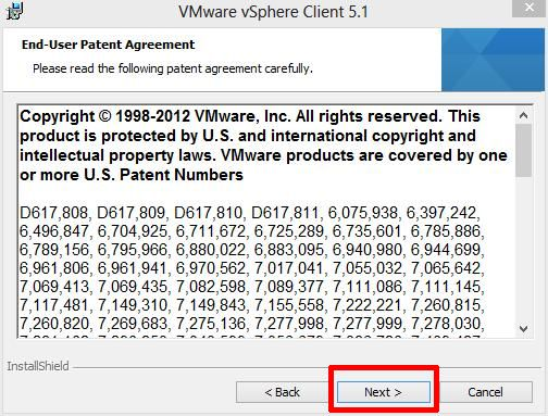 End-User Patent Agreement screen