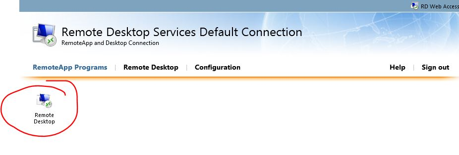 Publish Full Remote Desktop connection on windows 2012 rdweb?