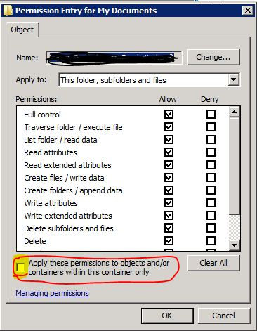 Image of permissions showing check box
