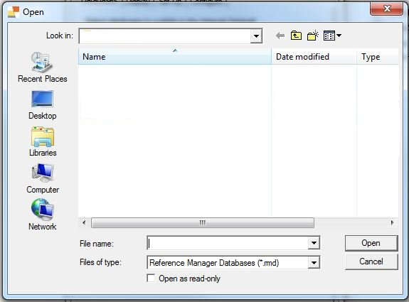 RM open database dialog