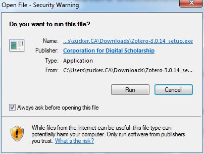 zotero install security warning