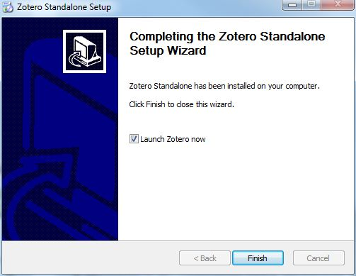 Zotero finish install