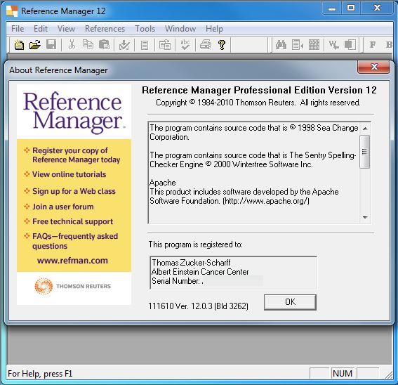 reference manager version screen