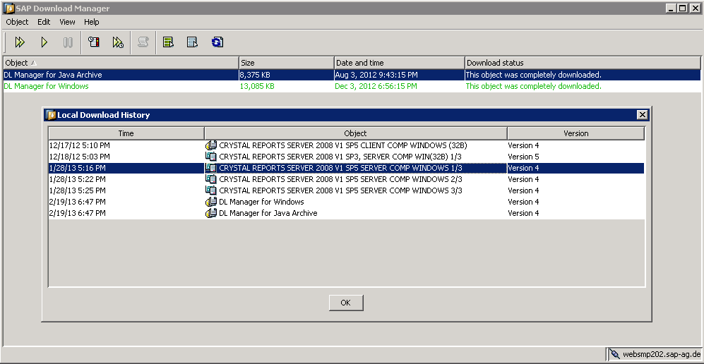 Updating patchers and service packs Crystal Reports Server XI to