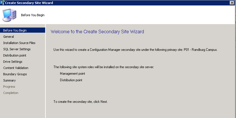Create Secondary Site Wizard