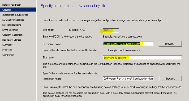 Specify Settings for a new secondary site