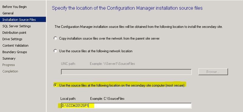Specify the location of SCCM install files