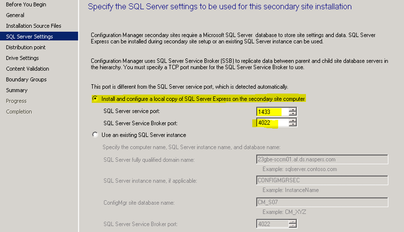 Specify the SQL server settings