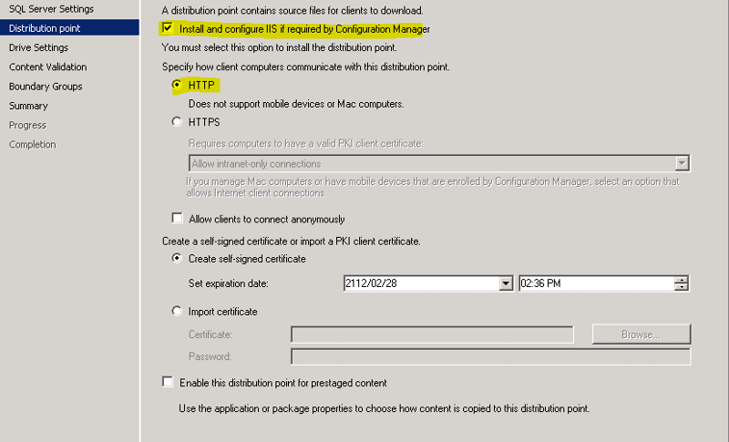 Configure Distribution point