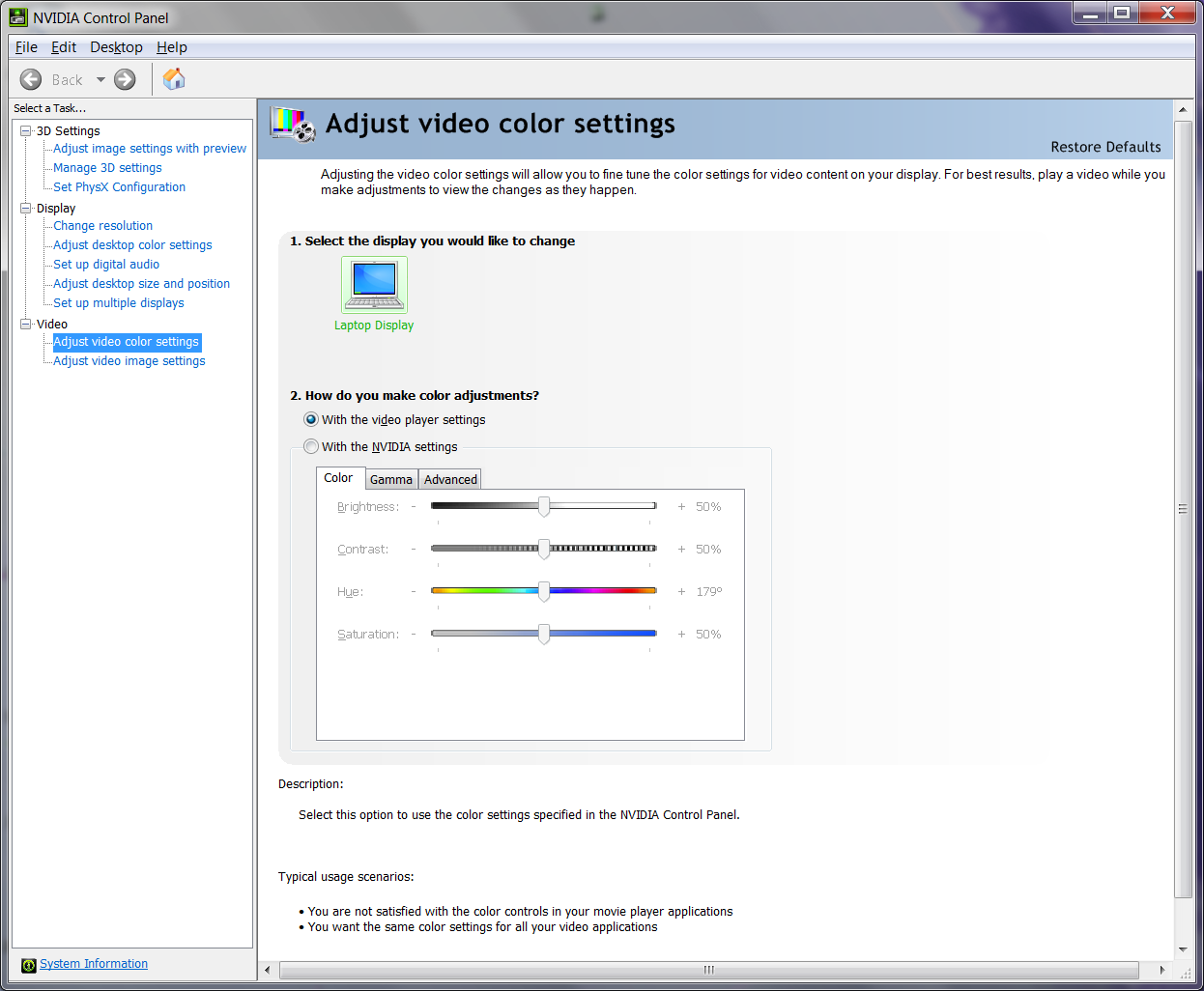 Video Settings adjustments on Windows Media Player 12 have no effect