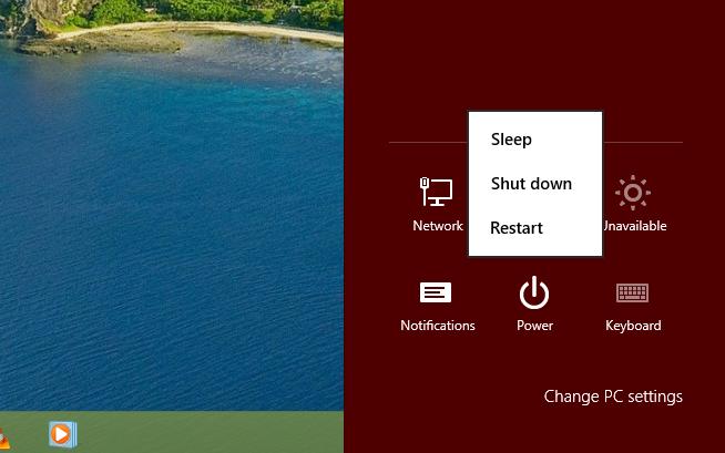Power setting from Desktop