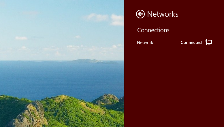 Network settings from Desktop