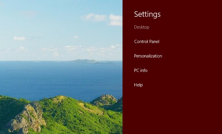 Settings from Desktop