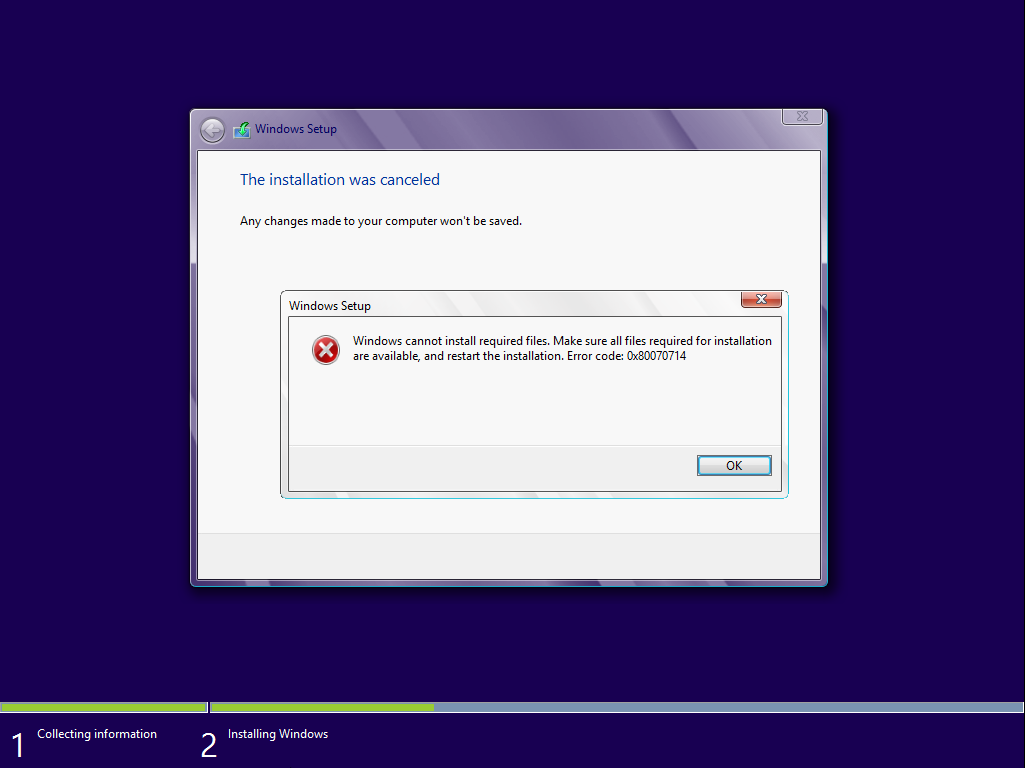 What to do if Windows can not install the required files