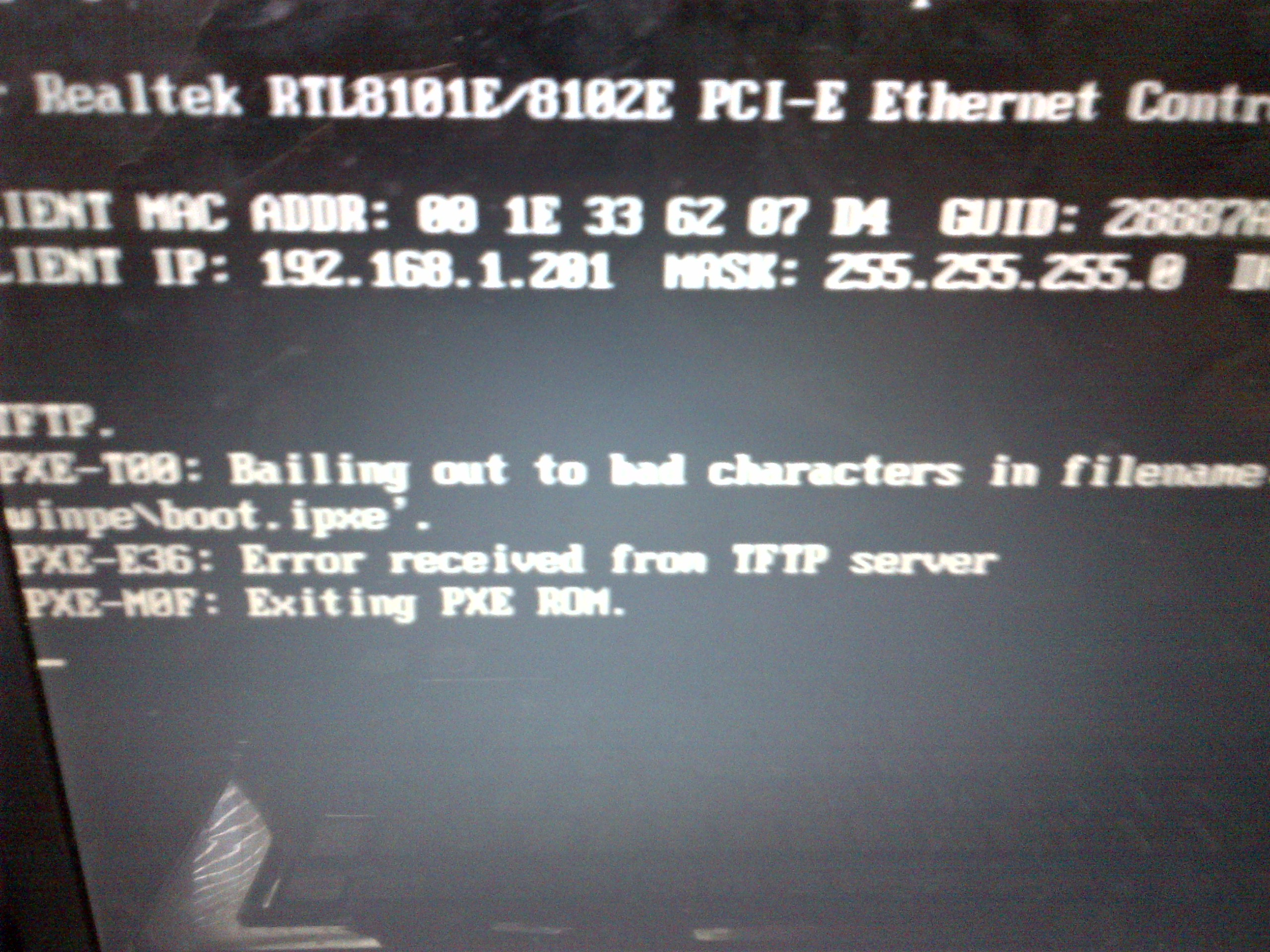 PXE boot into Windows PE environment