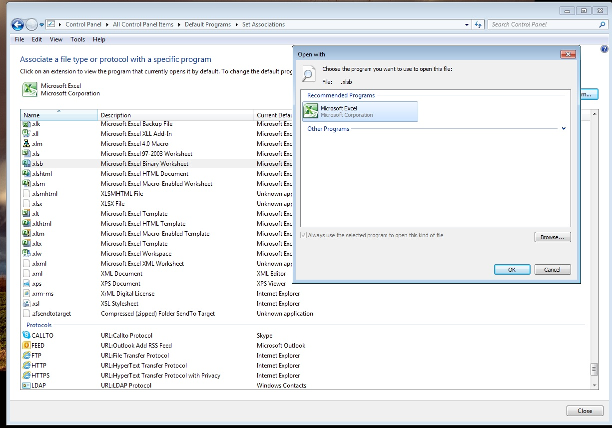 Cannot associate xlsx files with Excel (Office 2010