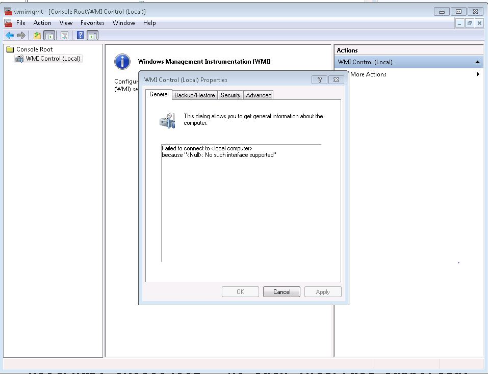 Solved Wmi Errors Including 0x80004002 No Such Interface Supported Experts Exchange
