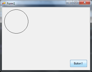A circle is drawn on the Form.