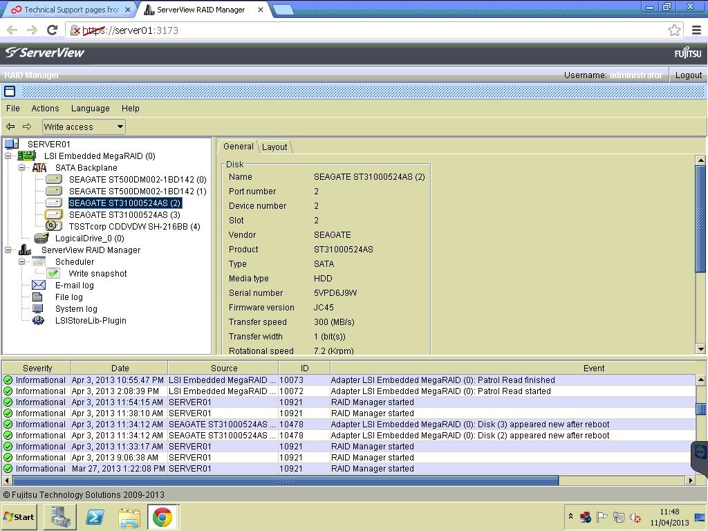 RAID Query (specifically re Fujitsu Serverview RAID Manager)