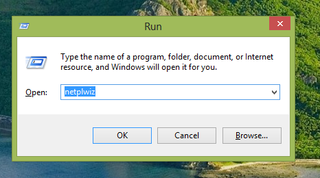 netplwiz in Run dialog box