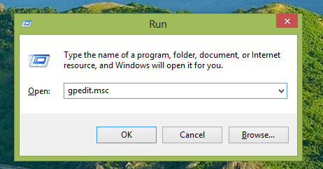 gpedit.msc in Run dialog box