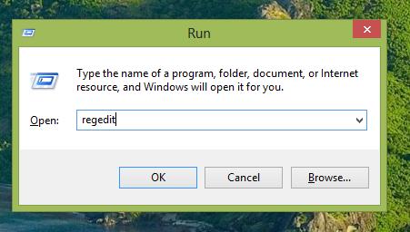 Regedit in Run dialog box