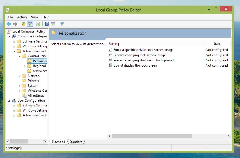 gpedit.msc at lock screen policy