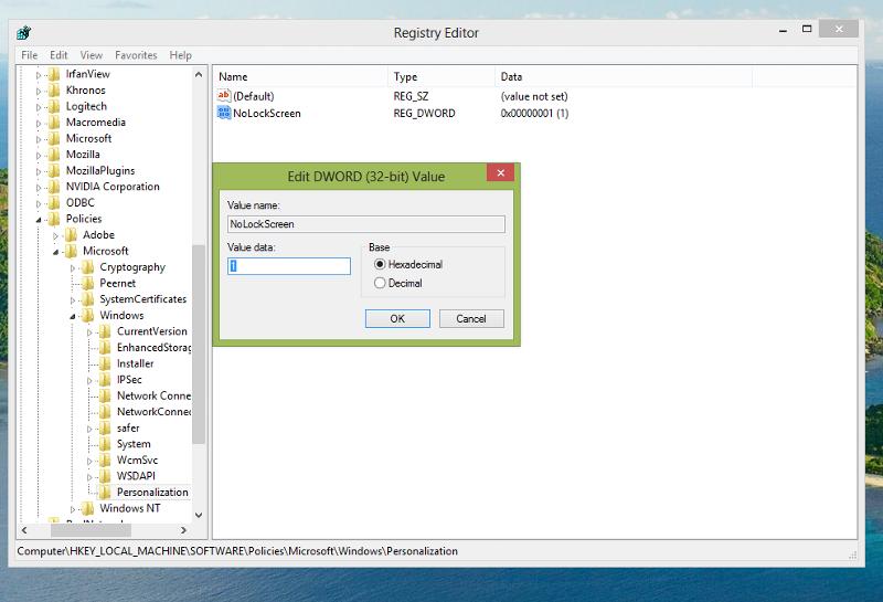 new registry key NoLockScreen