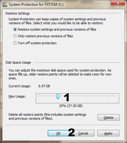 increase restore size