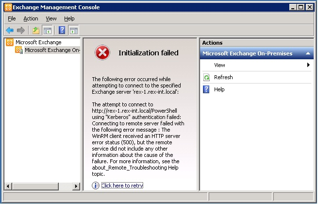EMC on Exchange SP1 2010 on server 2008 doesn't initialize
