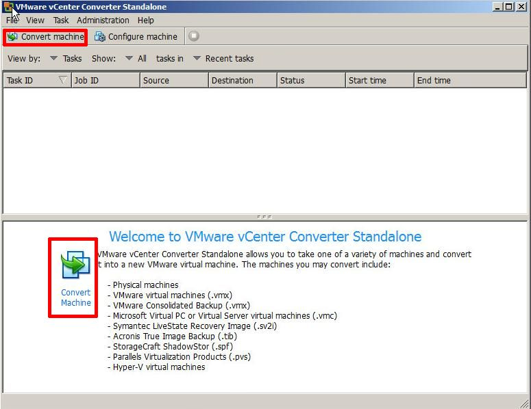 VMware vCenter Converter Standalone 5.1 - Welcome Screen