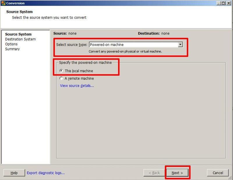 VMware vCenter Converter Standalone 5.1 - Convert Machine
